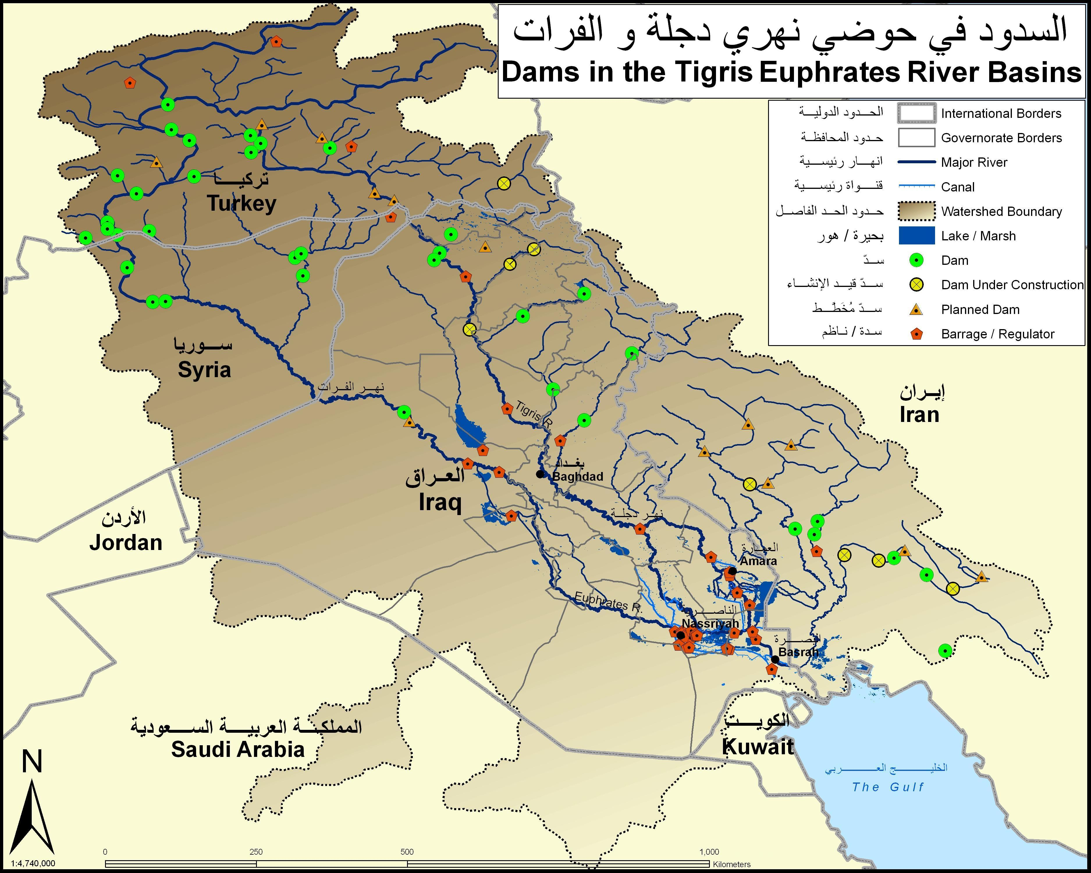 Dams in the Tigris Euphrates river basins